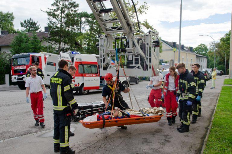 20170728 Rauchfangkehrer durch Dach gebrochen in Baden-Weikersdo